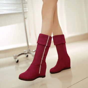 Fashion Women Knee High Boots for Autumn and Winter New Arrive Rhinestone Wedges 3259