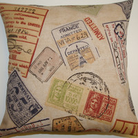 FREE DELIVERY Visa Stamps Around the World Travel Pillow Cushion Cover 16""