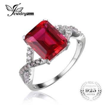 JewelryPalace Emerald Cut 4.6ct Created Red Ruby Promise Ring 925 Sterling Silver Wedding Rings Luxury Brand Jewelry For Women