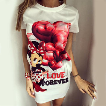 Hot Sale Women's Fashion Balloon Butterfly Mouse Print One Piece Dress [9266408204]