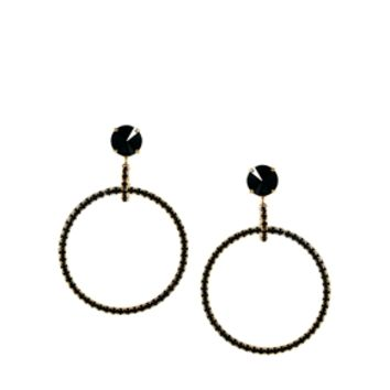 Krystal Swarovski Circular Earrings - Jet