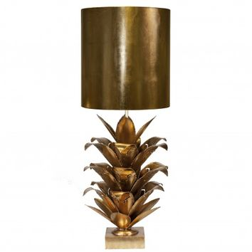 Worlds Away Arianna Gold Leaf Metal Table Lamp
