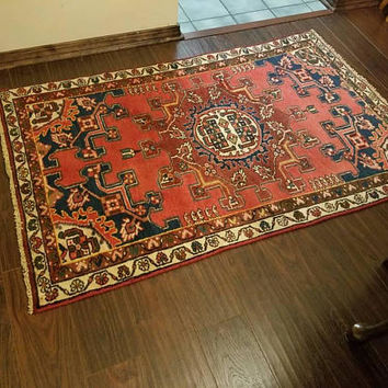 Vintage Tafresh Persian rug, red and blue, 3 × 4.8 ft. Free Shipping!!!!