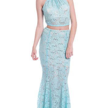 2 pc Lace Long Prom Bridesmaid Dress