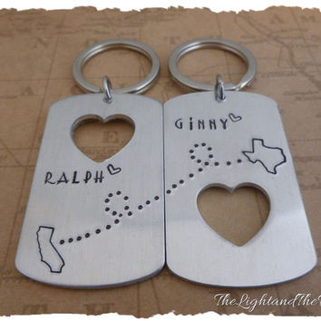 Long Distance Relationship Key Chains - Choose your States - Key Chain Gift Idea - Personalize it