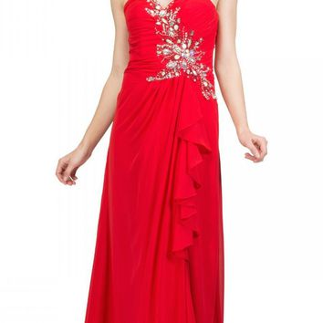 Prom Gown Chiffon Red Front Slit Strapless Floor Length