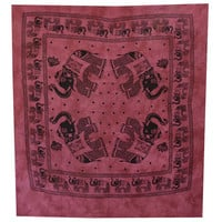 Elephant Mandala Tapestry, Hippie Wall Hanging, Indian Bohemian Tapestry, Gypsy Bed Cover, Elephant Wall Hanging,Queen Size Maroon Bed Sheet
