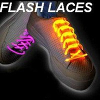 FIBER OPTIC LED SHOE LACES NEON GLOW IN THE DARK STICKS GADGET RAVE PARTY FUN DJ