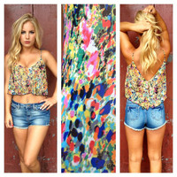Watercolor Chiffon Crop Tank Top