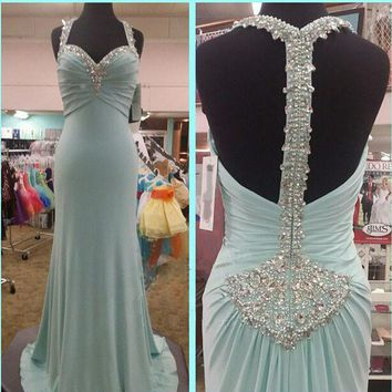 Elegant 2015 Halter Prom Gown Beading Mermaid Prom Dress Party Dresses See Though back Formal Evening Gown Custom made