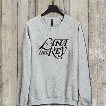 lana del rey logo Music tee Ash Grey  Long Sleeve Crew Neck Pullover Sweatshirt
