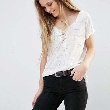 Pimkie Lace Up Jersey Top