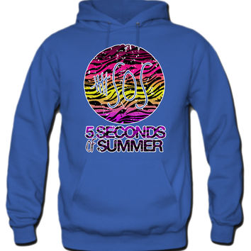 5 Seconds Of Summer Rainbow Zebra Print Hoodie