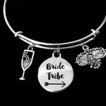 Bridesmaid Jewelry Bride Tribe Expandable Charm Bracelet Bangle Silver Adjustable Wire Bangle Wedding Shower Bridal Trendy One Size Fits All Gift Champagne