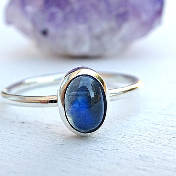 moonstone engagement ring, blue moonstone ring silver promise ring, women proposal ring, June birthstone ring, anniversary gift for her