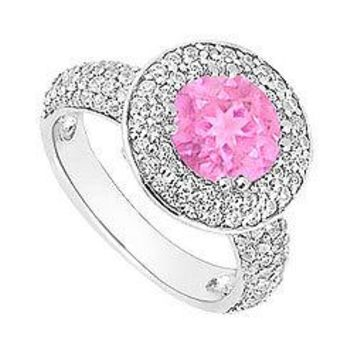 Pink Sapphire and Diamond Halo Engagement Ring : 14K White Gold - 2.00 CT TGW