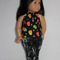 18 inch doll clothes, sugar skulls halter top, black and white denim skinny jeans, upbeat petites