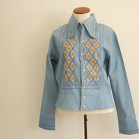 mexican embroidered denim jacket - 70s vintage ethnic floral chambray button down jean shirt - long sleeve blouse - small / medium