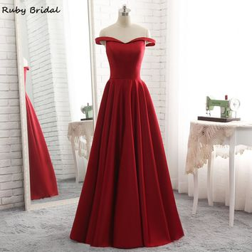Ruby Bridal 2017 Vestidos De Fiesta Burgundy Satin Long Prom Dress Luxury A-line Sweetheart Cheap Hot Prom Party Gown R305
