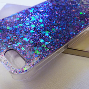 Galaxy glitter blue and purple Iphone 5 5s 4 4s 5c 6 6plus Samsung S3 S4 S5 Phone Case cover,Glitter Sparkly bling Disney Real glitter resin