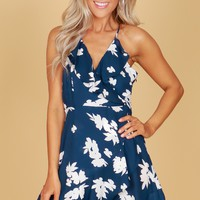 Ruffle Floral Tank Dress Navy