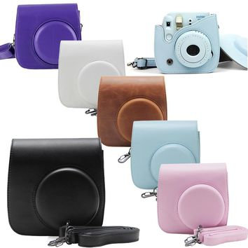 Fujifilm Instax Mini 8 Camera Mini 8 Plus 9 PU Leather Bag Case with Shoulder Strap / Clear Crystal Hard Protective Cover