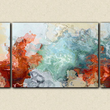 "Large triptych abstract expressionism stretched canvas print, 30x60 to 40x78 in red and blue, ""Simple Pleasures"""