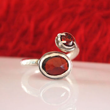 Deep Red Burgundy Natural Garnet Gemstone Ring, Double Stone Ring, Multistone Open Ring, Silver, Art Jewelry, FREE SHIPMENT