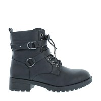 2 Strap Lace Up Combat Boot (BLACK)