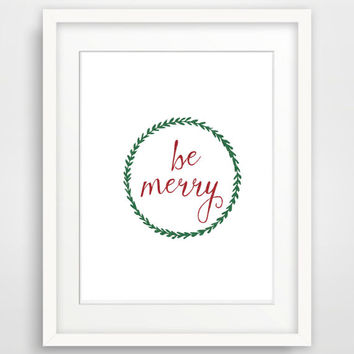 "Christmas printable wall art ""Be Merry"" glitter christmas decor, holiday printable decor, Christmas art printable, Christmas wreath print"