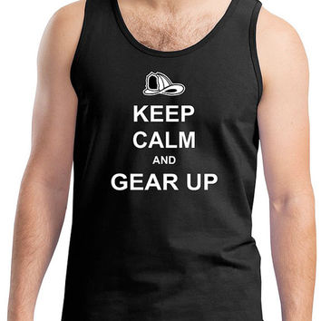 Men's Keep Calm and Gear Up Firefighter Tank Top in Black