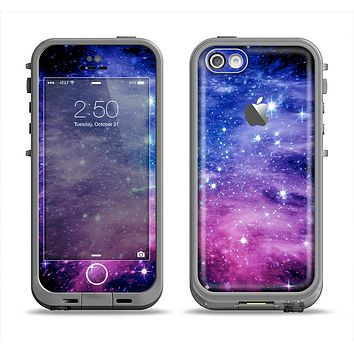 The Purple and Blue Scattered Stars Apple iPhone 5c LifeProof Fre Case Skin Set