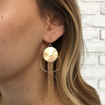 Story Of My Life Fringe Earrings in Gold