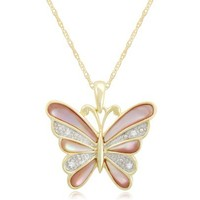 Silver Butterfly Mother-Of-Pearl Diamond Pendant Necklace