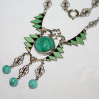 Art Deco Enamel Necklace Peking Glass Geometric Filigree Link 1920s Deco Jewelry