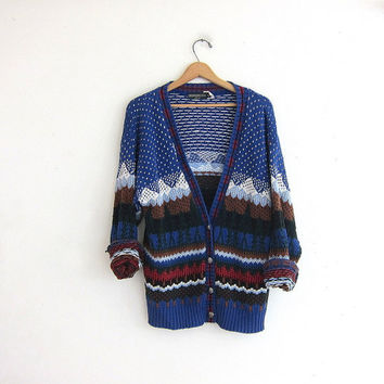 vintage ugly Christmas sweater // tacky christmas sweater // holiday party sweater in blue. size M