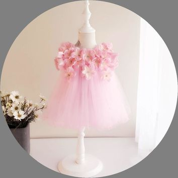 Baby Flower Girl Dresses 3D Stereoscopic Applique Infant Princess 1 Year Birthday Party Dress Newborn Christening Gowns