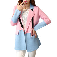 Blazer Feminino 2016 New Fashion Women Spring Autumn Suit Jacket Candy Color Patchwork Knitted Long Blazers Coats Tops WWF326