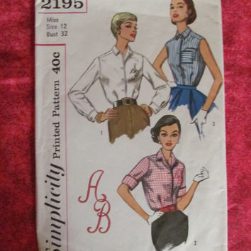 Spring Fever Sale 1950's Simplicity Sewing Pattern, 2195! Size 12, Bust 32, Size Small Women's Misses Teens, Shirts, Blouses, Summer and Spr