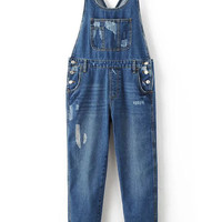 Blue Denim Ripped Overall Jeans