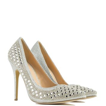 Studded Pointed Toe Pump in Silver
