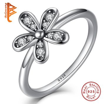 BELAWANG Real 925 Sterling Silver Daisy Floral,Bow,Trial Star Silver Rings Sets Cubic Zirconia Crystal Rings for Women Jewelry