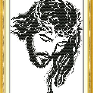 New Meditation Jesus DMC Cross Stitch Kits 14CT White 11CT Print Paintings Embroidery DIY Handmade Needle Work Home Decor Ricamo