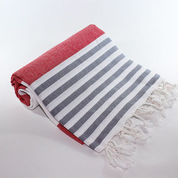 Red Beach Towel | Gray | Peshtemal Towel | Turkish Beach Towel | Beach Sarong | Red Turkish Towel | Beach Towel | Red Beach Blanket | Summer