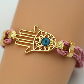 Gold Hamsa hand Bracelet, Hamsa Bracelet, Braided Band, Personalized Bridesmaid Jewelry, Frienship Graduation Gift, Trending Accessories