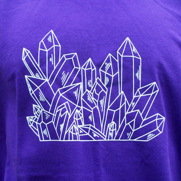 Quartz Crystal Point Cluster T-Shirt Purple Handmade Original Mineral Specimen Kynd Valley