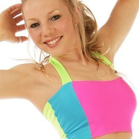 Indyglo Pink, Turquoise and Lime Electrik Halter Top - Rave Outfits and Clothing at Great Prices!