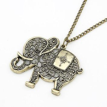 Vintage Retro Charms Hollow Out Elephant Metal Necklace&Pendants Women Jewelry