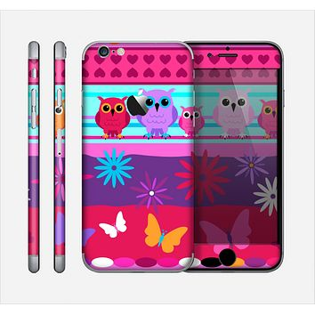 The Bright Pink Cartoon Owls with Flowers and Butterflies Skin for the Apple iPhone 6