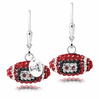 Texas Tech University Swarovski Crystal Football Earrings. Free Shipping